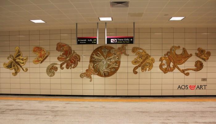 Bostancı Metrosu Altın Varak Pano Çalışmamız